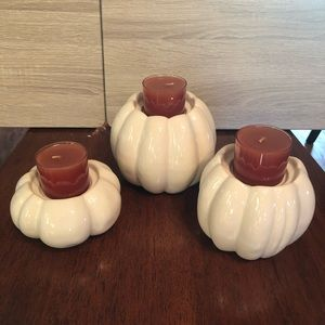 Gold Canyon pumpkin candle holder set